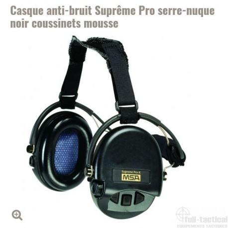 Casque anti-bruit Suprême Pro serre-nuque noir coussinets mousse